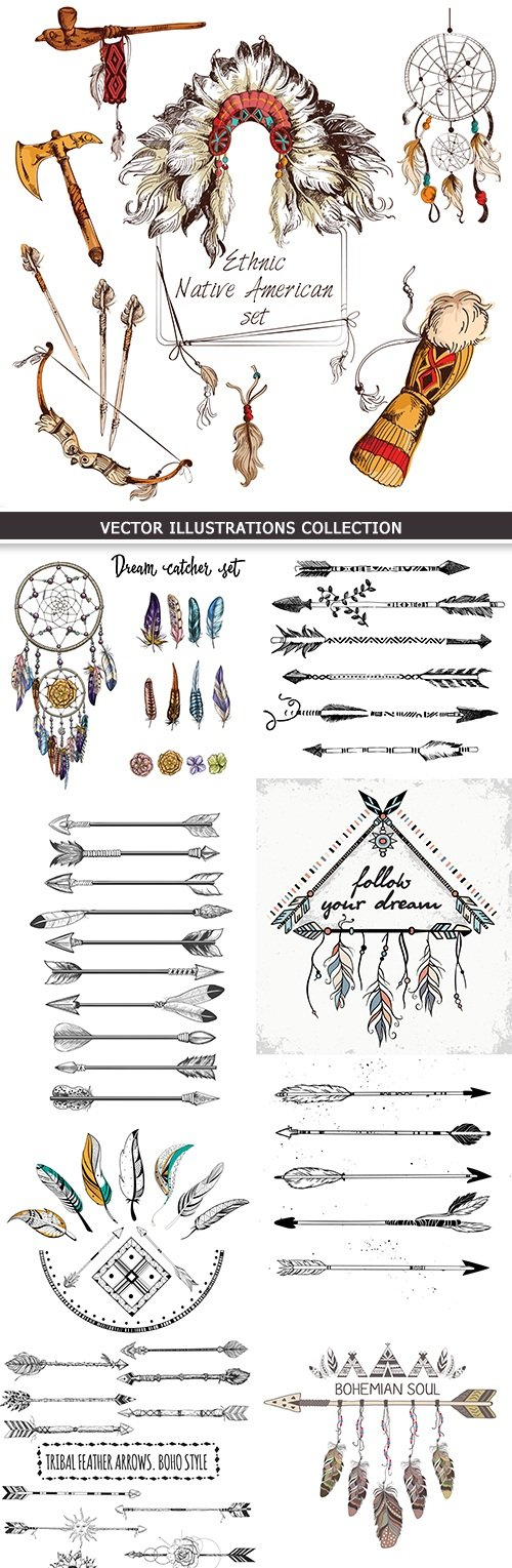Arrow and feather boho ethnic Indian vintage sketch