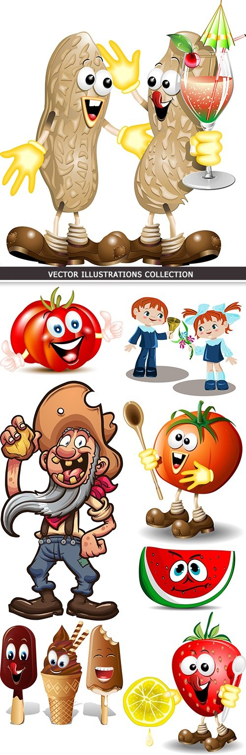 Cartoon amusing characters for children's illustrations collection