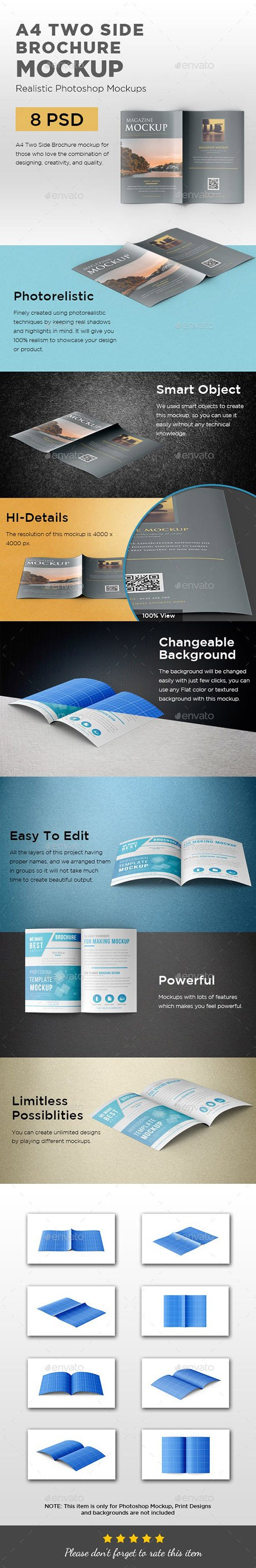 GR - A4 Two Side Folded Brochure Mockup 23272099