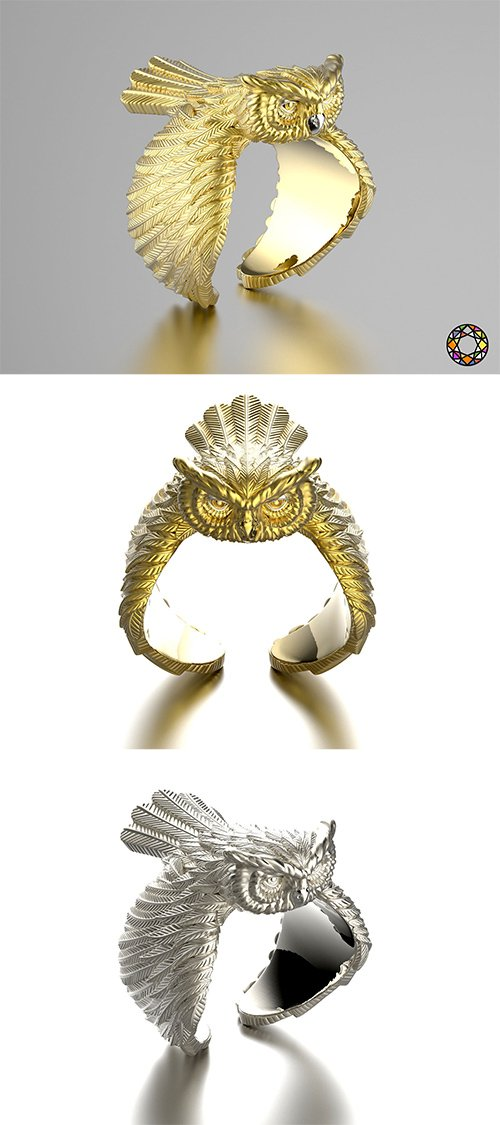 Owl fashion ring 0156 3D print model