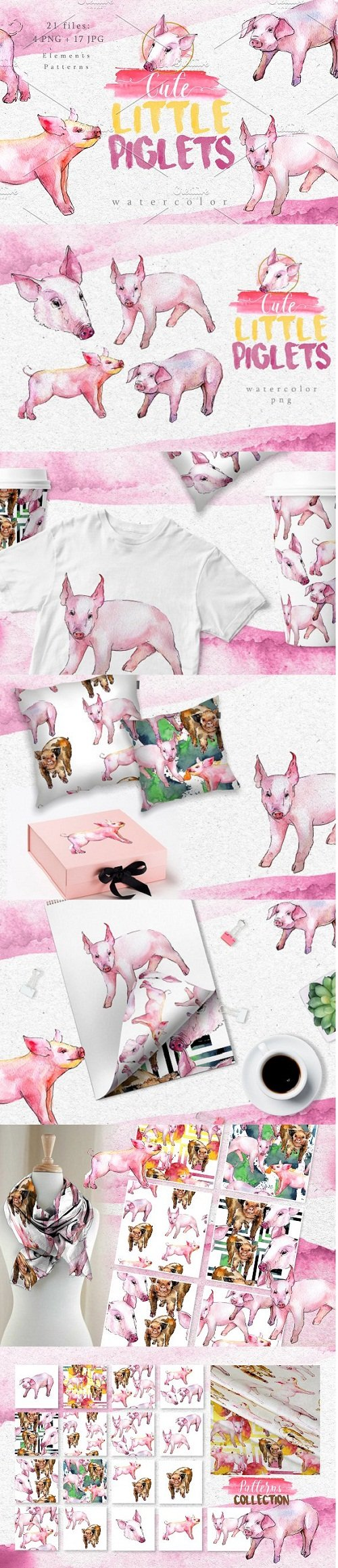Watercolor pink pig png set - 3087855
