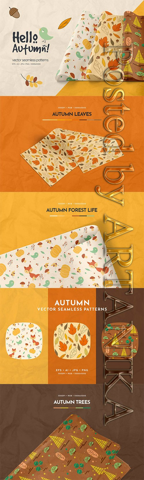 Hello Autumn Seamless Patterns