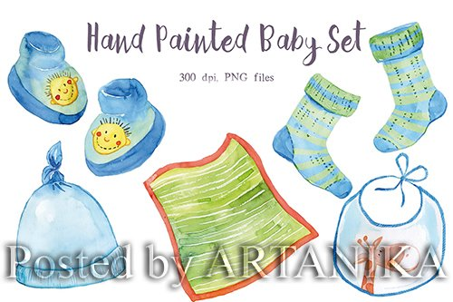 Watercolor Blue Baby Set