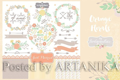 Orange Wreaths Vector