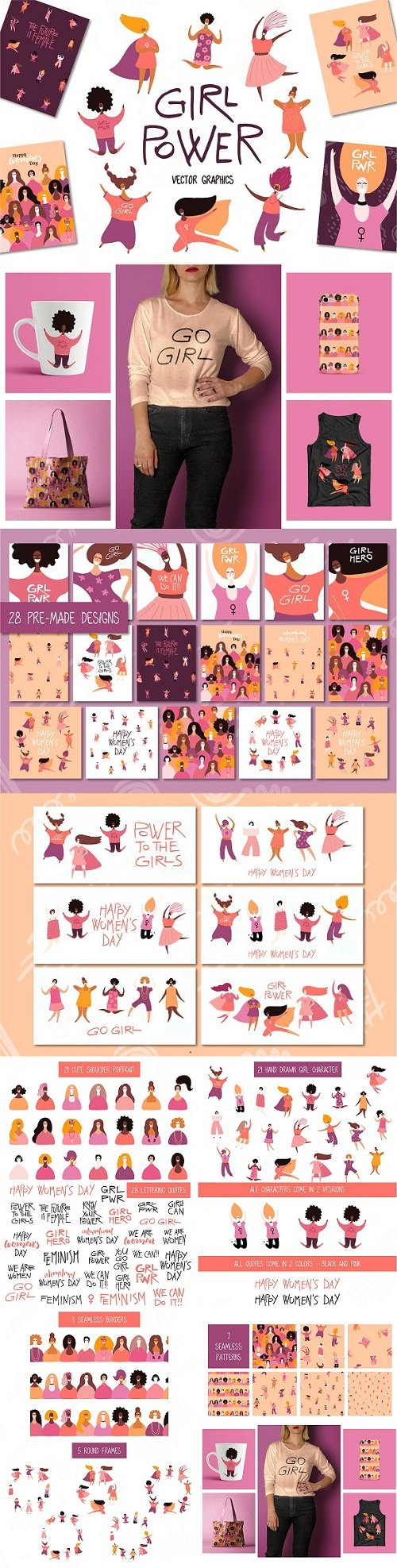Girl Power Vector Set, Art & Quotes - 3436263
