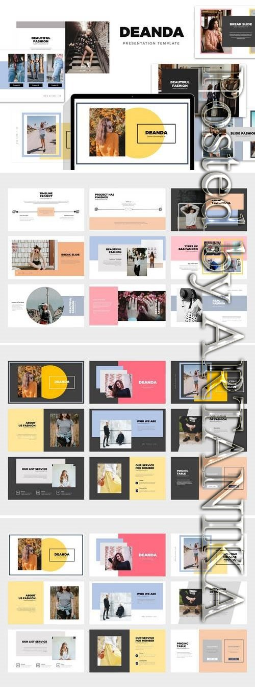 Deanda : Fashion, Clothing & Lifestyle - Powerpoint, Keynote, Google Sliders Templates