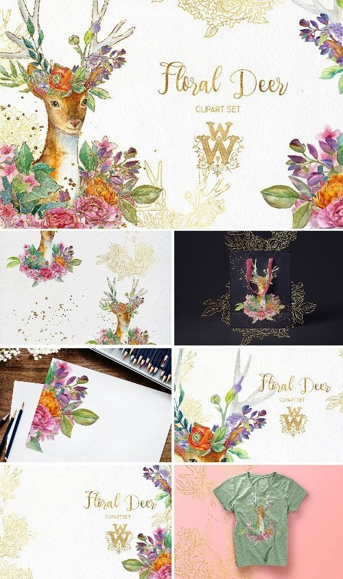 Watercolor Floral Deer Printable Clipart 153932