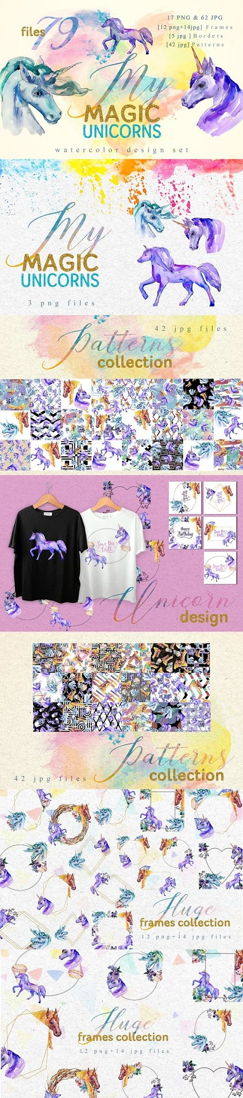 Magic Unicorn Watercolor png - 3348350