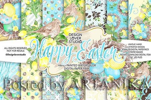 Watercolor HAPPY EASTER Yellow digital paper pack