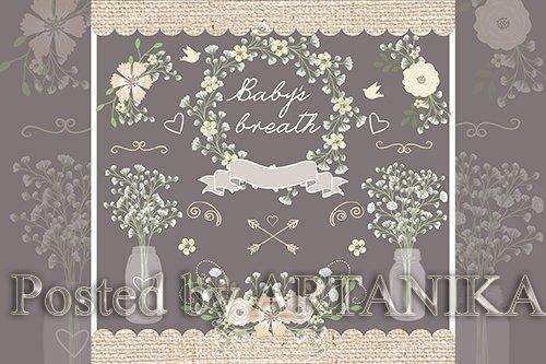 Vector Rustic baby's breath wedding design