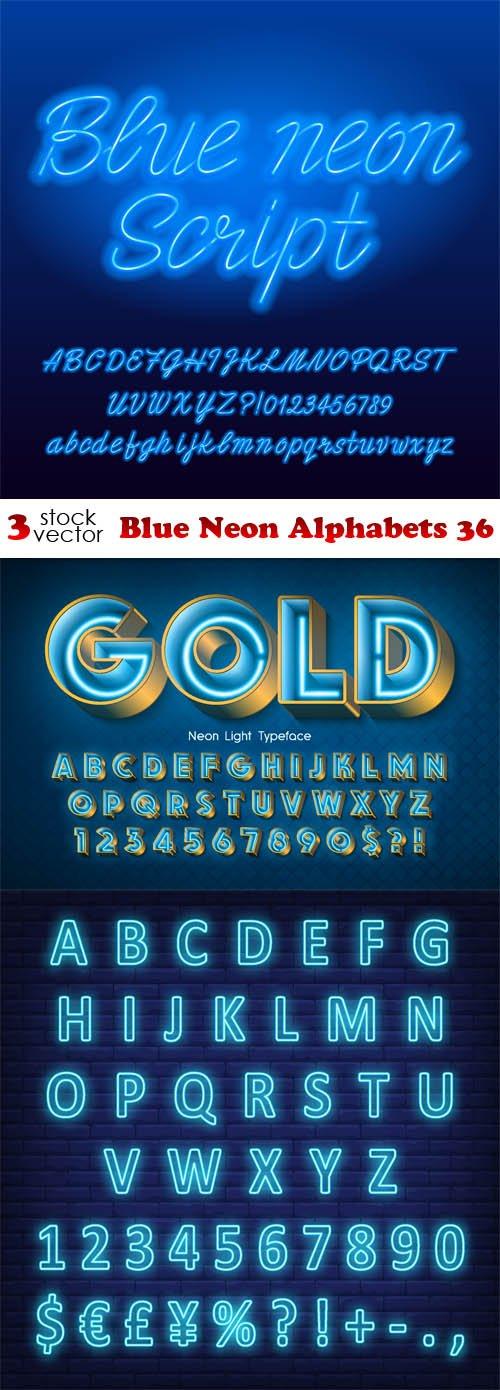 Vectors - Blue Neon Alphabets 36