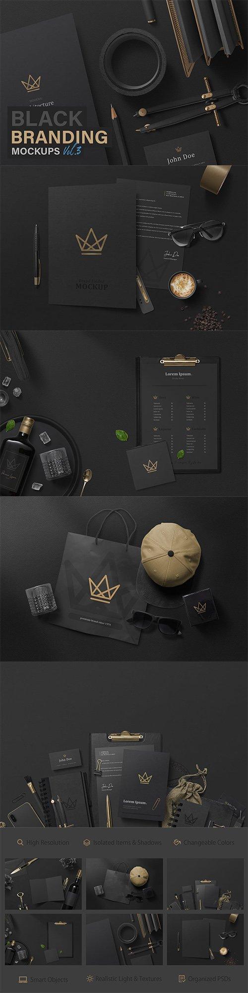 Black Branding Mockups Vol.3 PSD