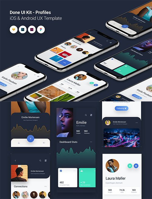 Profiles - Done UI Kit iOS & Android UX Template