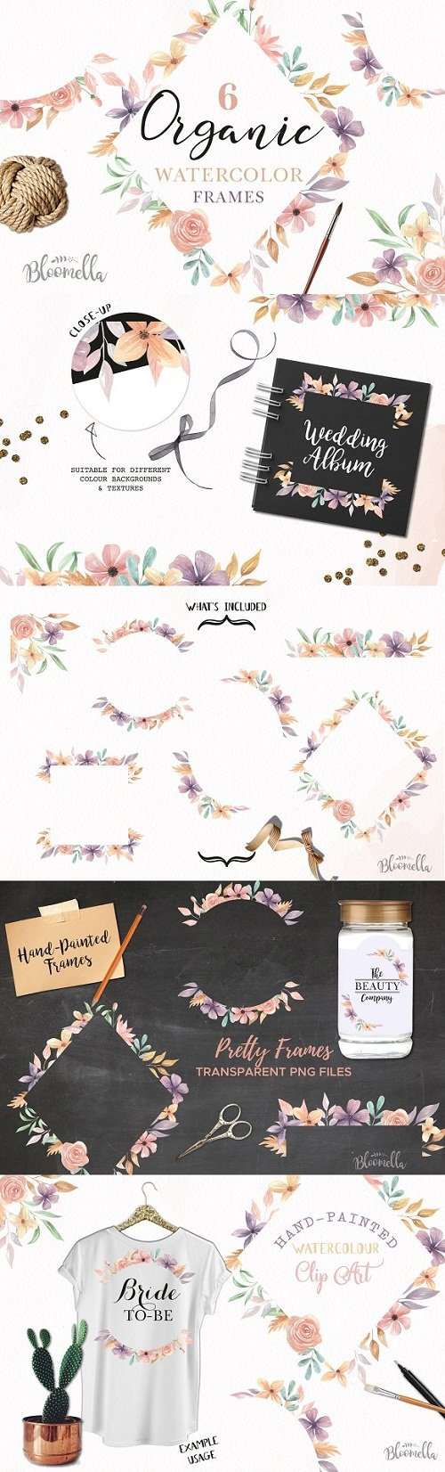 Floral Watercolour Flowers Frames - 3164885