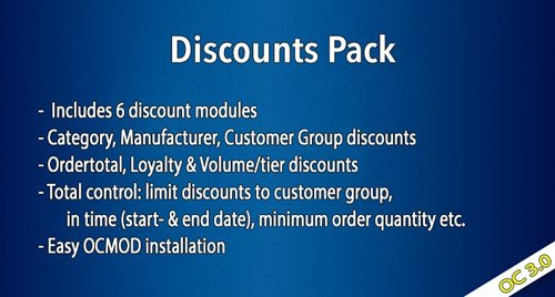 OC3 - Discounts Pack v1.5.1.1 - OpenCart Module