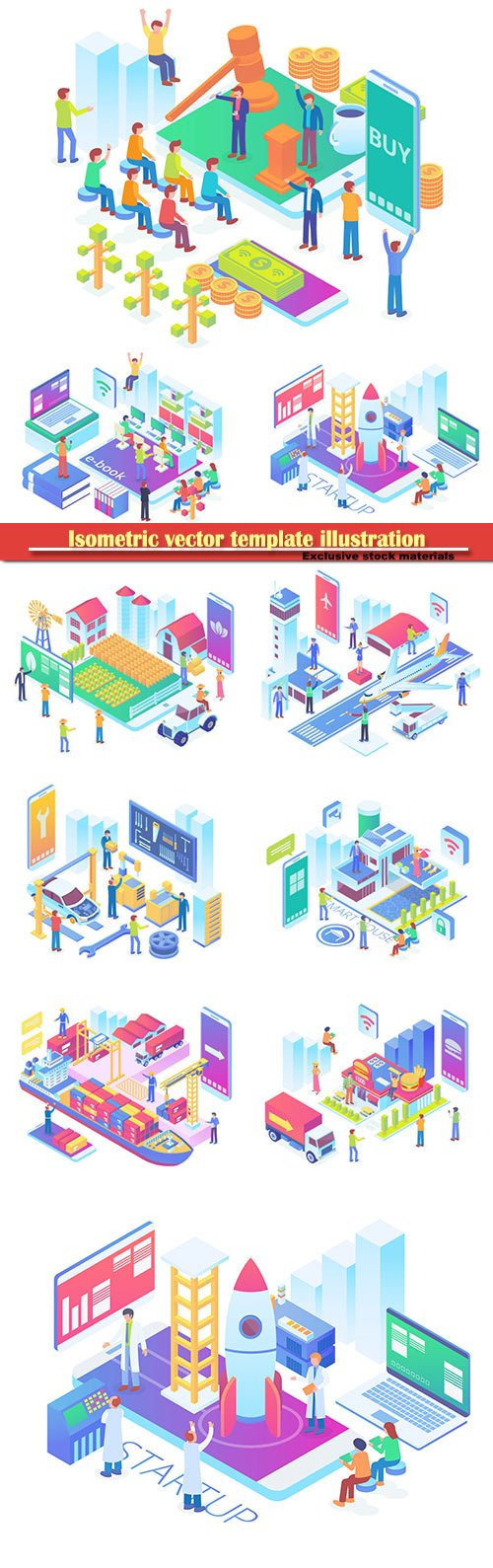 Isometric vector template illustration # 36