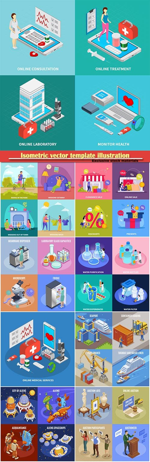 Isometric vector template illustration # 38