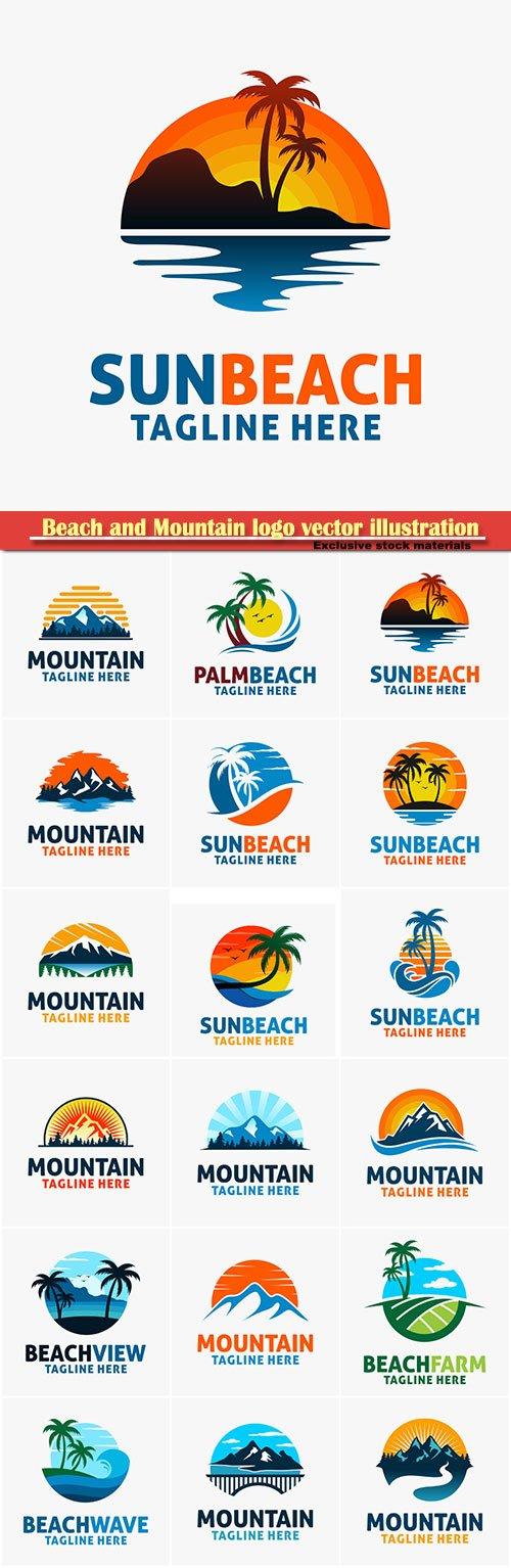 Beach and Mountain logo vector illustration