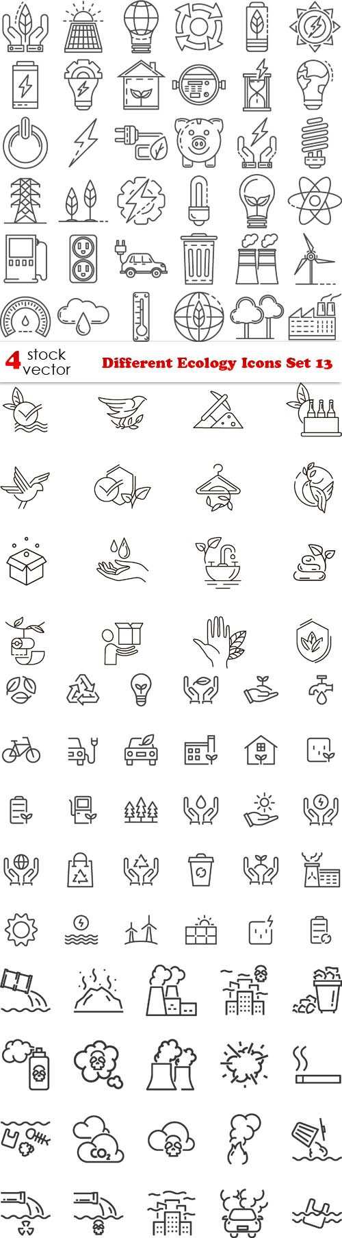 Vectors - Different Ecology Icons Set 13