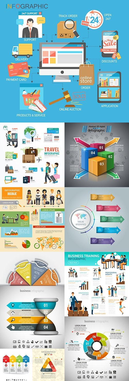 Business infographics options elements collection 32