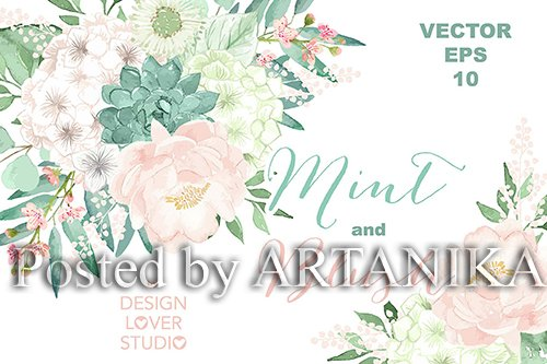Vector Watercolor Mint and Blush clipart