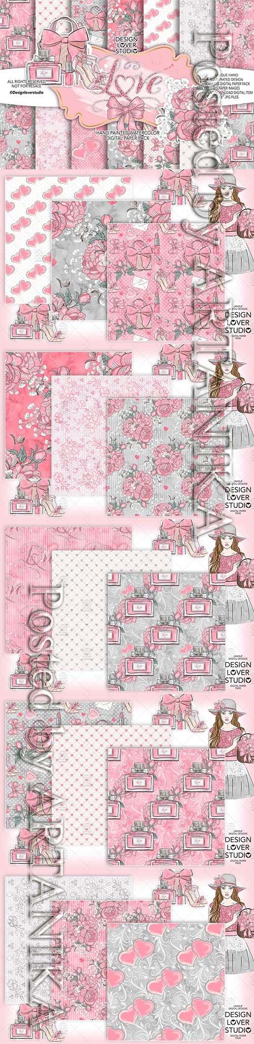 Loving Heart digital paper pack