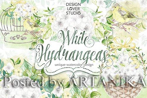 Watercolor White Hydrangeas design
