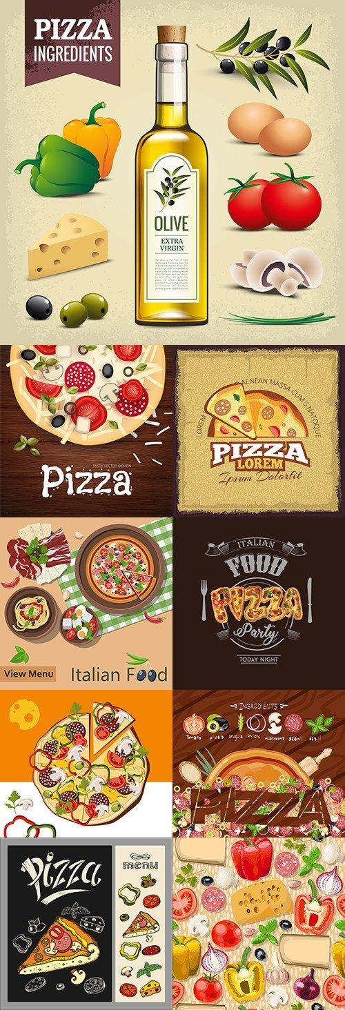 Pizza Italian restaurant menu delivery emblem design