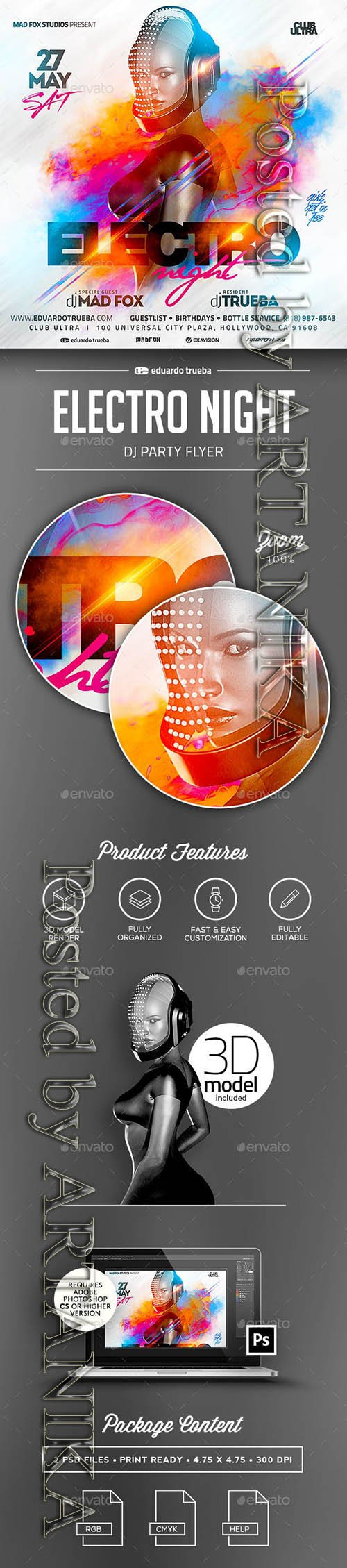 GraphicRiver - Electro Night Dj Party Flyer 23161444