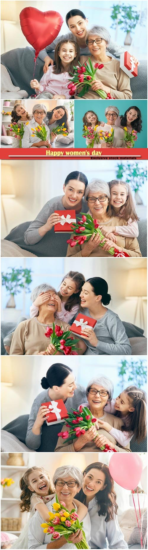 Happy women's day, grandma, mum and girl smiling and hugging
