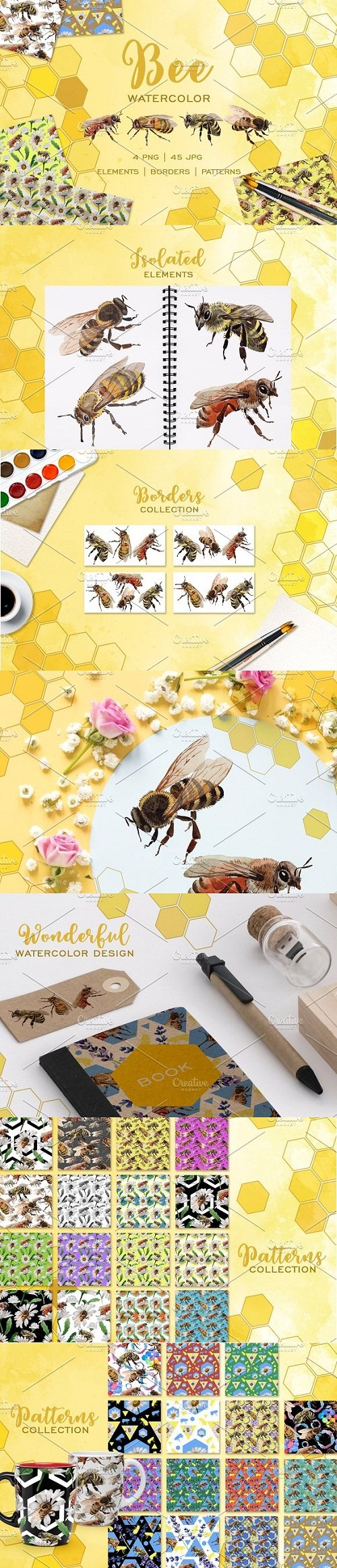 Bee Watercolor png - 3493635