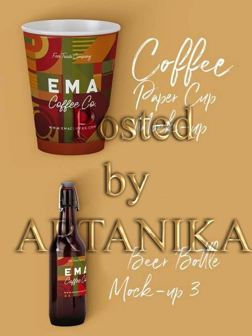 Coffee Paper Cup & Beer Bottle Mock-up