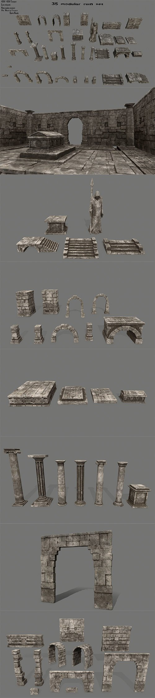 ruin set 1 Low-poly 3D model
