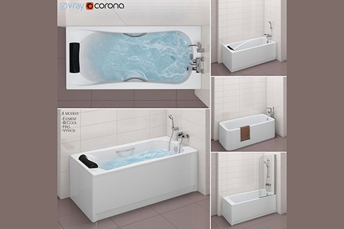 Set of baths Roca set 31 -Element-BeCool-Hall-Vythos 3D model