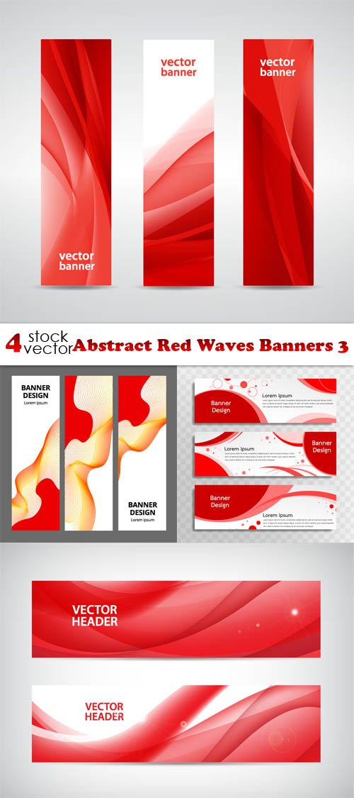 Vectors - Abstract Red Waves Banners 3