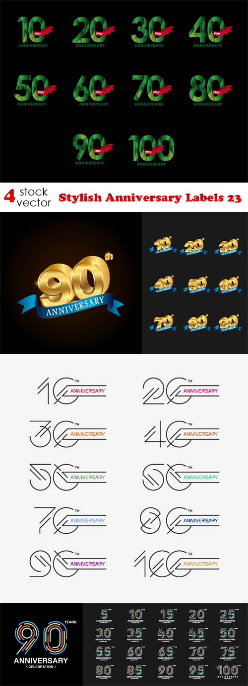 Vectors - Stylish Anniversary Labels 23