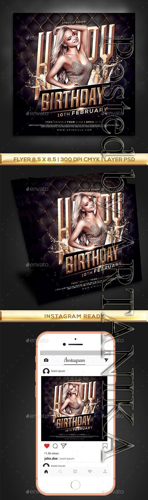 GraphicRiver - Gold Birthday Party Flyer 23259383