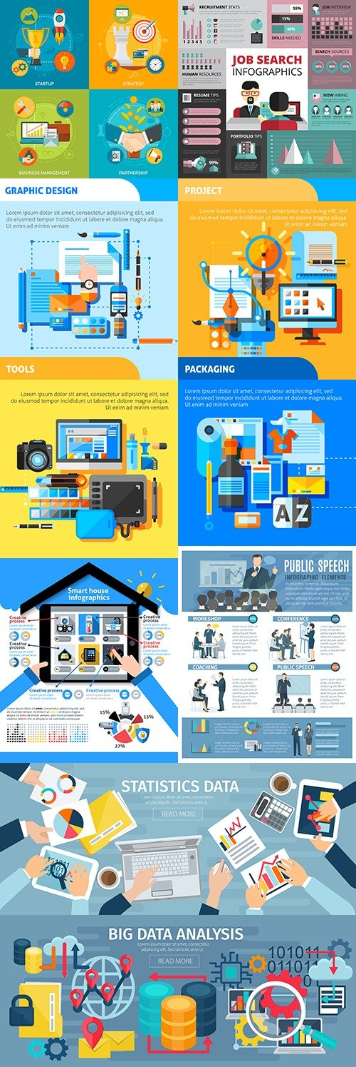 Business infographics options elements collection 34