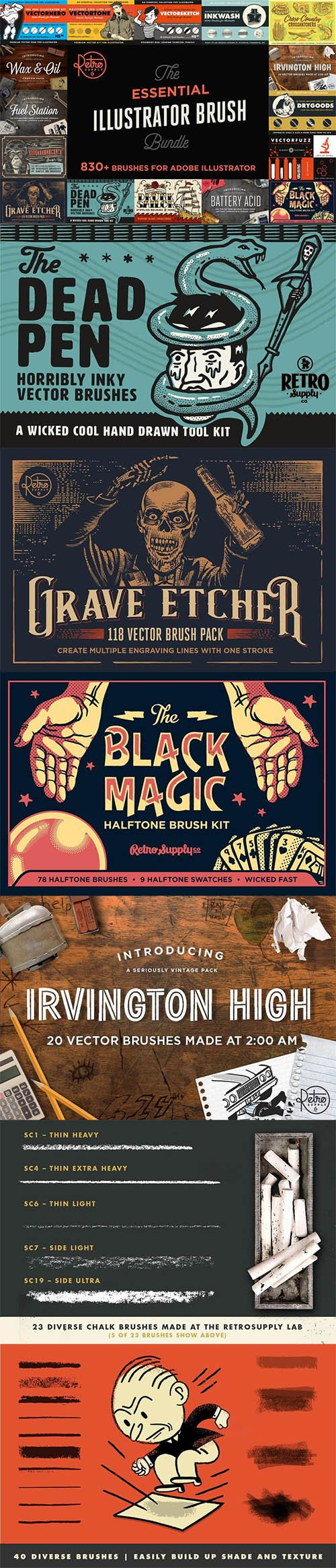 THE ESSENTIAL ILLUSTRATOR BRUSH BUNDLE