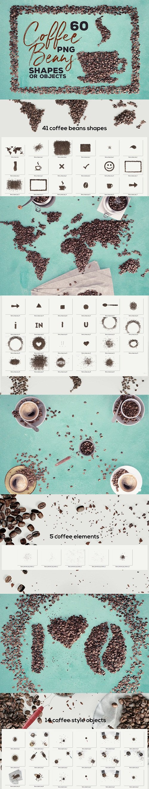 60 Coffee Beans - PNG Shapes & Objects 216772