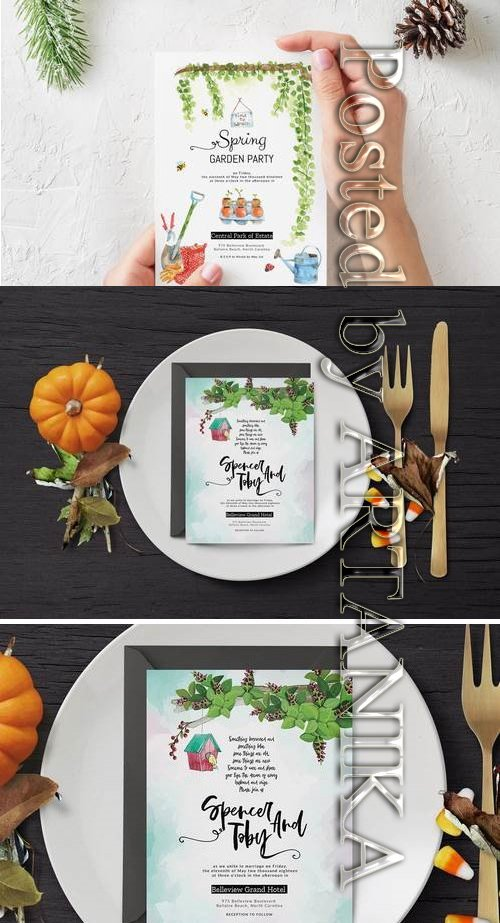 Spring Gardening & Wedding Party Invitation Card