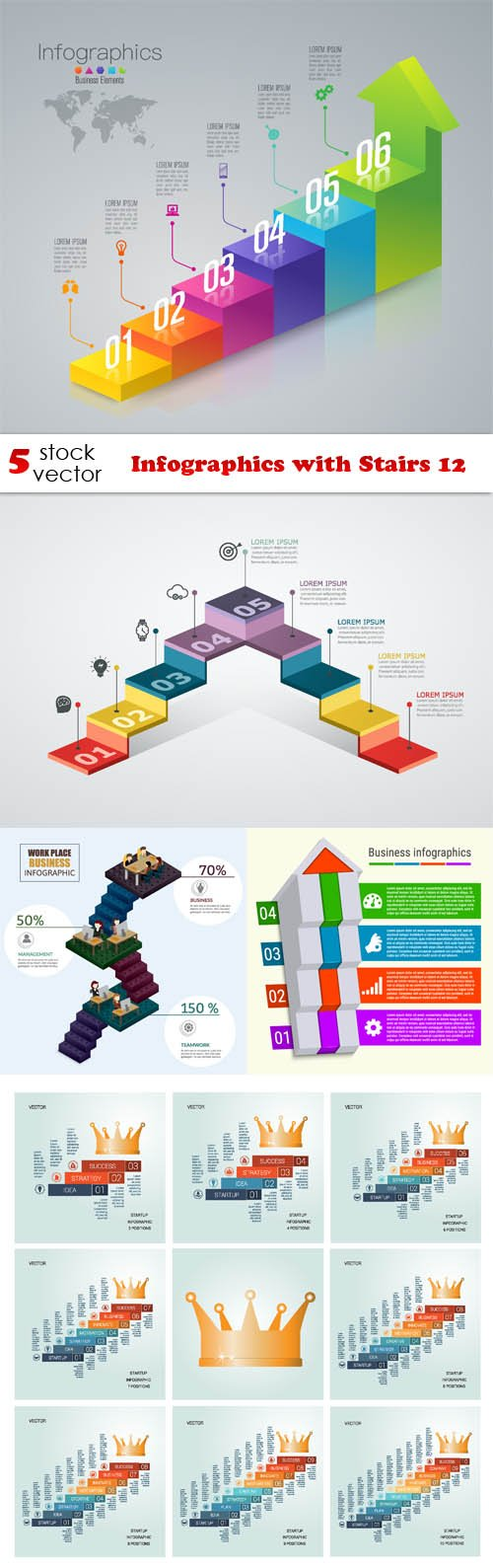 Vectors - Infographics with Stairs 12