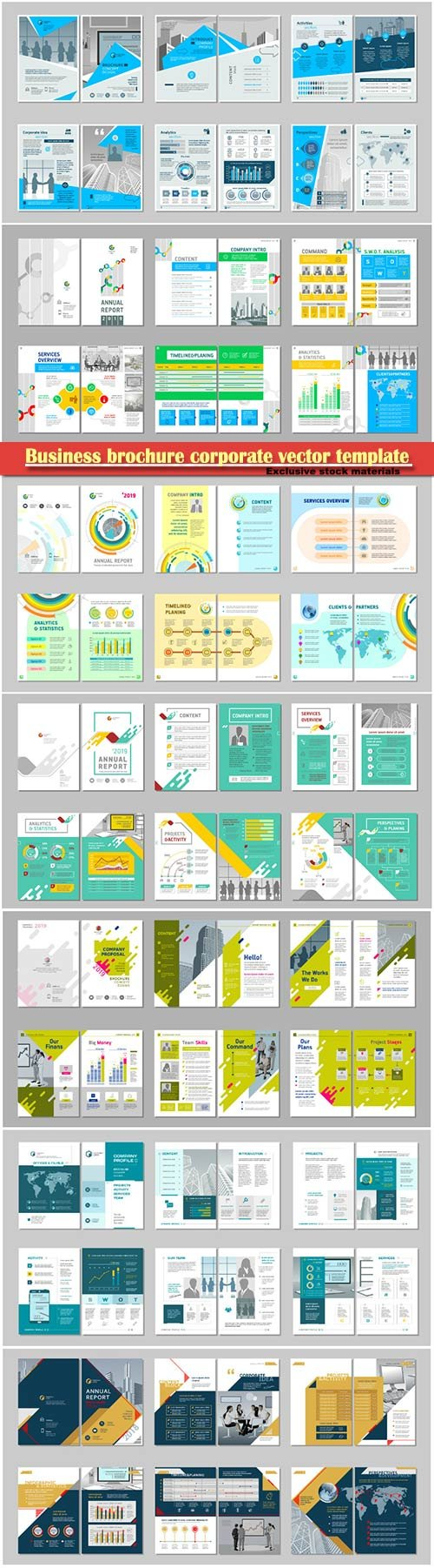 Business brochure corporate vector template, magazine flyer mockup # 34