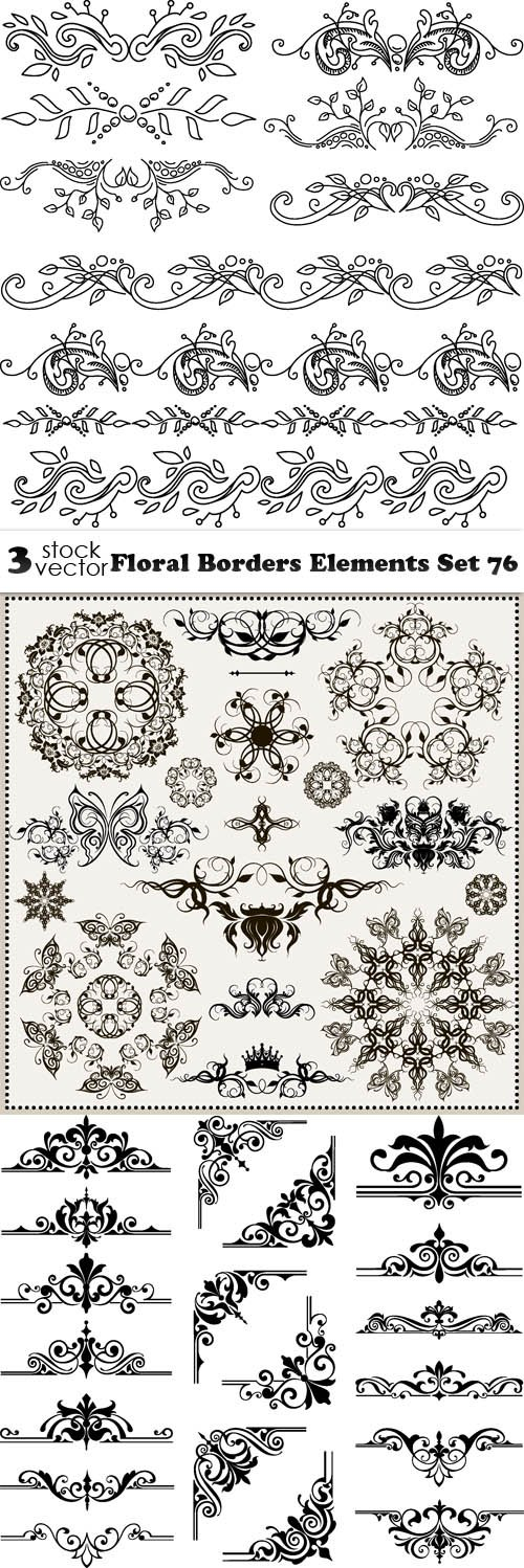 Vectors - Floral Borders Elements Set 76