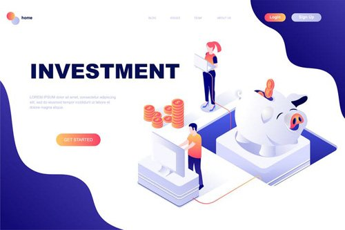 Investment Isometric Landing Page Template