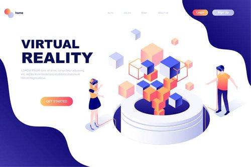 Virtual Reality Isometric Landing Page Template