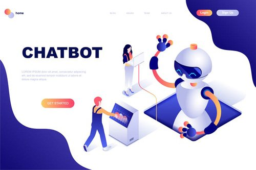 Chat Bot Isometric Landing Page Template