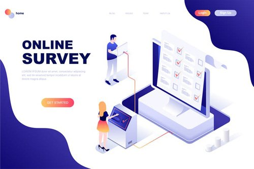 Online Survey Isometric Landing Page Template