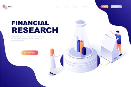 Financial Research Isometric Landing Page Template