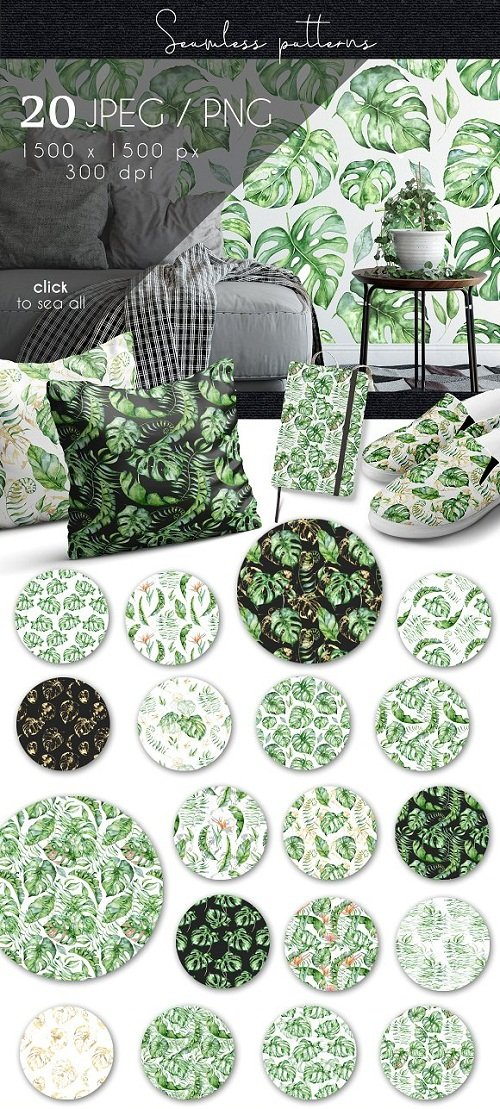 Tropical seamless patterns - 3497964